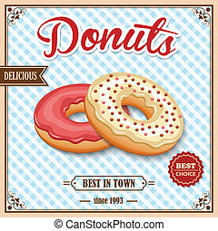Donut retro poster - Tasty baked delicious donut dessert...