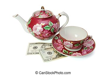 Tea service on dollar bills isolated - Tea service stands on...