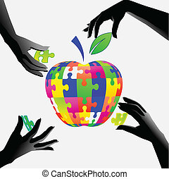 apple in hands a puzzle - Jigsaw apple. Hands assemble...