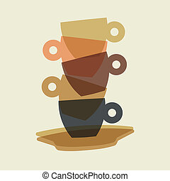 Espresso cups stack in merging color