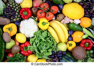 Huge group of fresh vegetables and fruit - High quality...