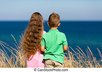 Boy and girl during summer time