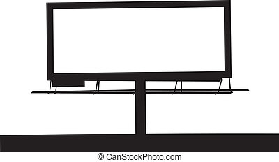 Clipart Vector of Large billboard - People and a large blank ...