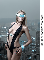 Futuristic woman in night city - Futuristic fashion woman...