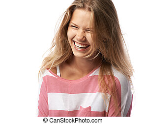pretty girl expressively laughs - pretty girl closing her...