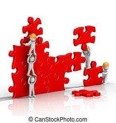 teamwork, building a puzzle