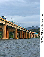Bridge on the Han River, Korea - View of bridge from the Han...