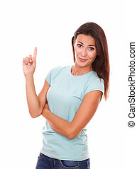 Adult lady pointing up and looking at you