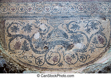 Mosaic in Kaunos Church, Dalyan Town, Turkey