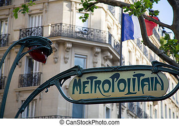 Paris Metro Sign - 01 - Ancient Metro Sign at the entrance...