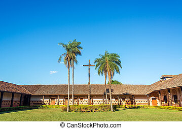 Jesuit Mission Courtyard - Courtyard and cross in the UNESCO...