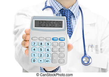 Doctor holdling in his hand calculator - Medical doctor with...