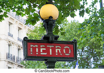 Paris Metro Sign - 02 - Ancient Metro Sign at the entrance...