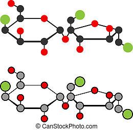 Sucralose artificial sweetener molecule. Used as sugar...