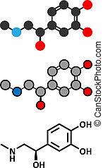 Adrenaline (adrenalin, epinephrine) neurotransmitter molecule. Used as drug in treatment of anaphylaxis