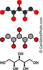 Xylitol artificial sweetener molecule. Used as sugar...