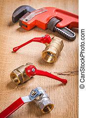 plumbing fixtures and monkey wrench