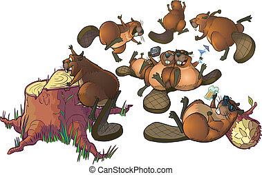 Cute Cartoon Beavers Party Clip Art - Vector Cartoon Clip...
