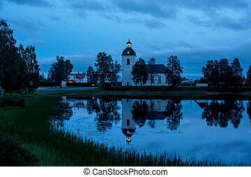 Blue Hour - Blue hour, the church in twilight with...