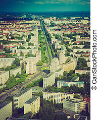 Retro look Berlin aerial view - Vintage looking Aeria view...
