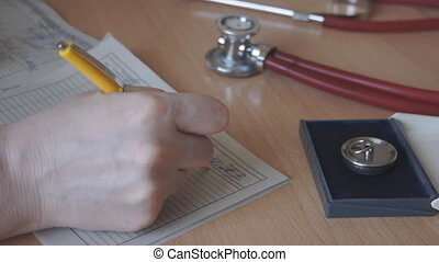 Medical worker writes a pen - Doctors office, doctors...