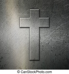 Grunge brushed metal background with cross