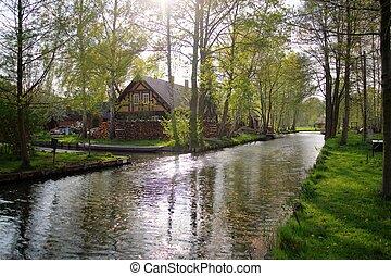 Farm near water - Farm in Spreewald, Germany with water...