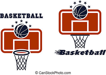 Backboard and basketball symbols - Basketball symbols and...