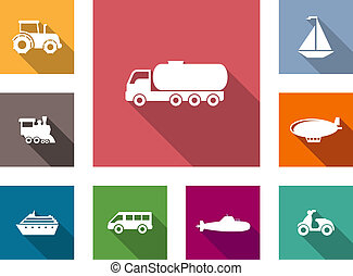 Flat transportation icons set with tractor, truck,...