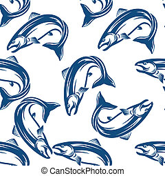 Salmon fish seamless pattern in square format for seafood,...