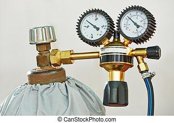 Cilindro, acetileno, tanque,  gas, calibrador, soldadura