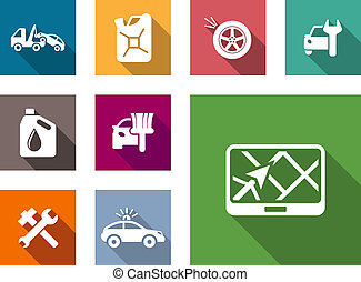 Car service flat icons set with car towing truck, gasoline,...