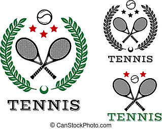 Tennis sporting emblems and symbols with text Tennis....