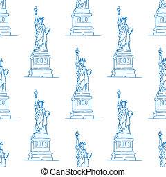 Statue of Liberty seamless pattern