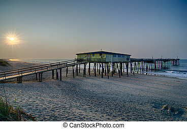 Abandoned North Carolina Fishing Pier Outerbanks OBX Cape...