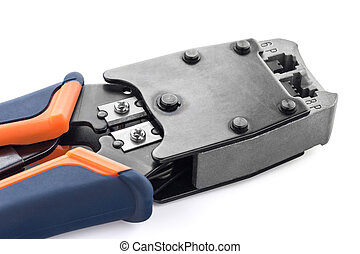 Tool - Crimping tool for twisted pair on a white background,...