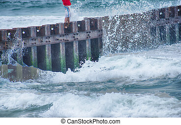 North Carolina OBX Retired Coastal Groyne Buxton Jetties on...