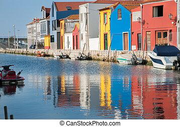 água, canal, doca, Aveiro, PORTUGAL