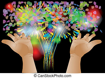 confetti and hand