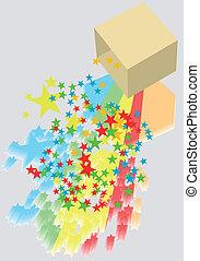 box and confetti