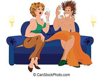 Cartoon couple drinking champagne cocktail sitting on blue couch