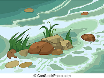 Cartoon grass stones and brook - Illustration of cartoon...