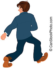 Cartoon man in blue jacket and blue pants walking away back...