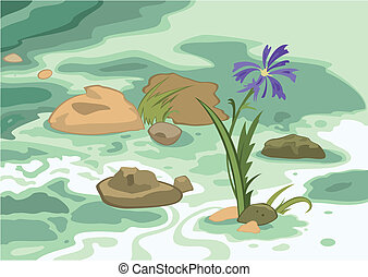 Cartoon flowers stones and brook - Illustration of cartoon...
