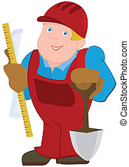 Cartoon man in red constrictor uniform and with spade -...