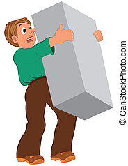 Cartoon man in green shirt and brown shoes holding big box -...