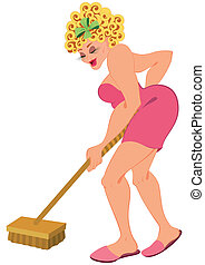 Cartoon woman in ping with floor brush - Illustration of...