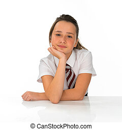 Bored young girl in school uniform