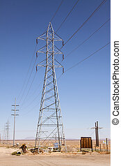 Power line tower - Vertical shot of high voltage power line...