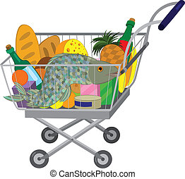Grocery store shopping cart with food items and fish -...